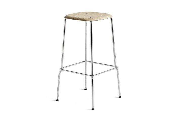 1991711109000_Soft Edge 30 Bar Stool high_H75_Base chromed steel_Seat oak matt lacquer