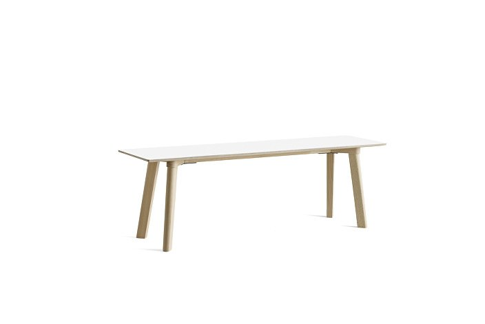 8091311309000_CPH Deux 215 Bench_L140xW35xH45_Beech untreated raw plywood edge_Pearl white laminate