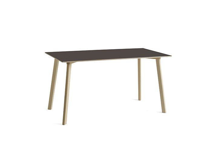 8090131209000_CPH Deux 210 Table_ L140xW75xH73_Beech untreated raw plywood edge_Stone grey laminate