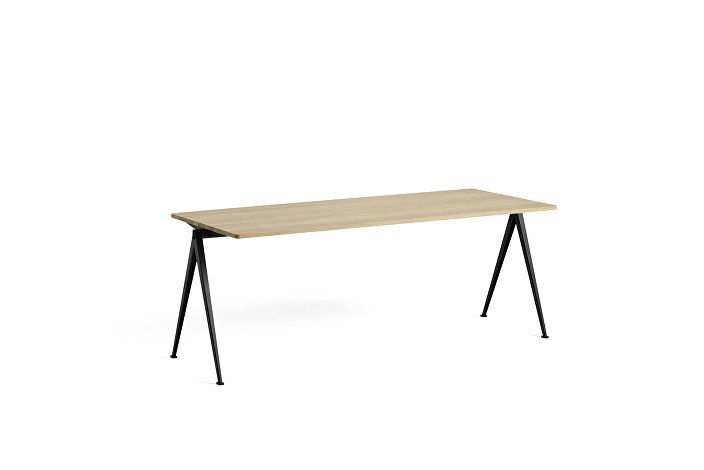 1955131509000_Pyramid Table 01_L200xW75_Frame black_Top oak matt lacquered