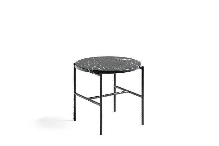 930203_Rebar Round Side Table with marble tabletop_dia45 x H40,5_soft black frame