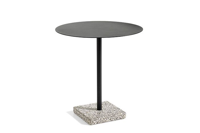 1952132009000_Terrazzo Table Round_dia70_Grey base_Anthracite tabletop