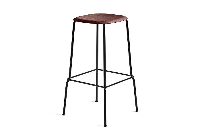 1991411409000_Soft Edge 30 Bar Stool high_H75_Base black_Seat oak fall red stained
