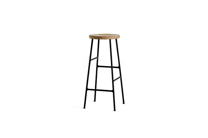 9303111509000_Cornet Bar Stool H75 black powder coated steel base_solid olied oak seat