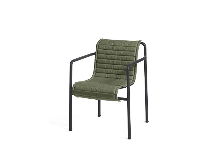 Palissade Dining Arm Chair Anthracite_Quilted Cushion Olive