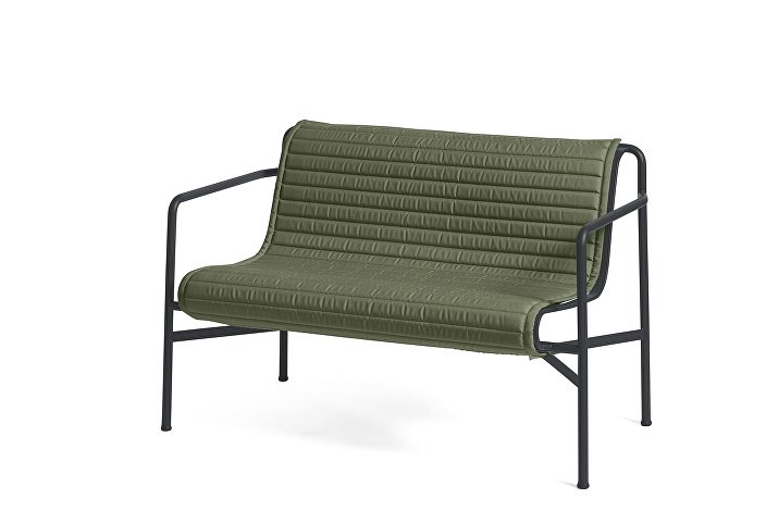 Palissade Dining Bench Anthracite_Quilted Cushion Olive