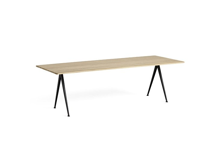 1955171509000_Pyramid Table 02_L250xW85_Frame black_Top oak matt lacquered