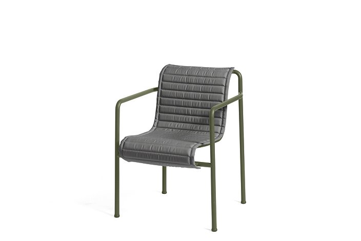 Palissade Dining Arm Chair olive_Quilted Cushion Anthracite