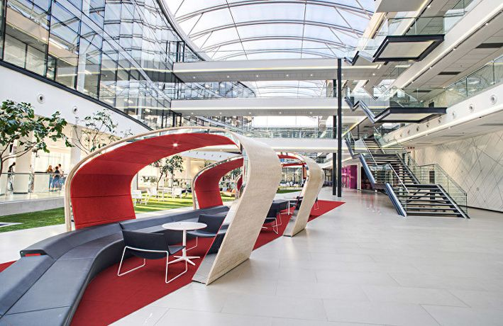 Multichoice_Atrium pods  Arper Catifa 80 lounge chair and  Fred table