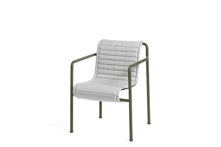 Palissade Dining Arm Chair olive_Quilted Cushion Sky Grey