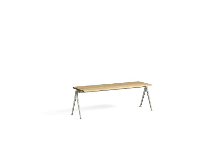 1955571009000_Pyramid Bench 11_L140xW40_Frame beige_Top oak clear lacquered