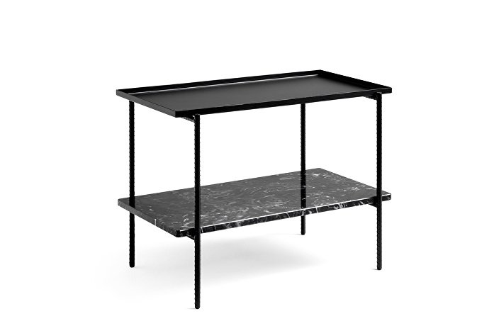 930205_Rebar Rectangular Side Table with two trays in soft black steel and marble_L75xW44xH55_soft black frame 02