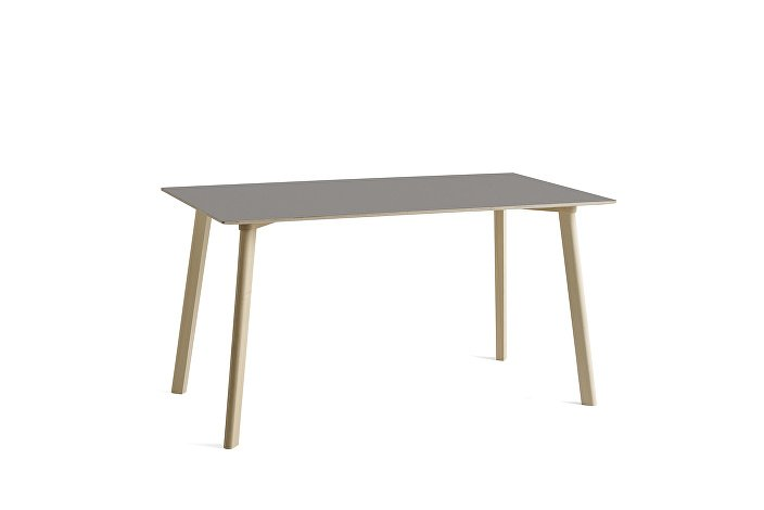 8090131009000_CPH Deux 210 Table_L140xW75xH73_Beech untreated raw plywood edge base_Beige grey laminate