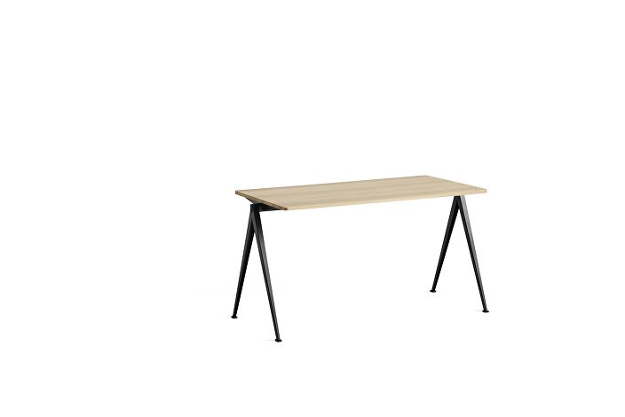 1955011509000_Pyramid Table 01_L140xW65_Frame black_Top oak matt lacquered