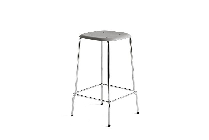 1991011359000_Soft Edge 30 Bar Stool low_H65_Base chromed steel_Seat oak soft grey stained