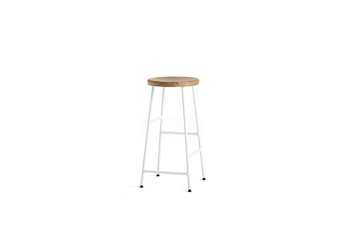 9303031509000_Cornet Bar Stool H65 cream white powder coated steel base_solid oiled oak seat