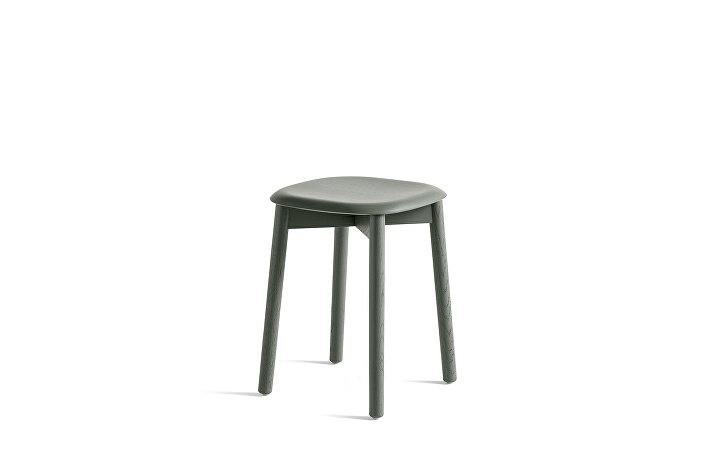 928341_Soft Edge 72 Stool_Base dusty green stained oak_Seat dusty green stained oak