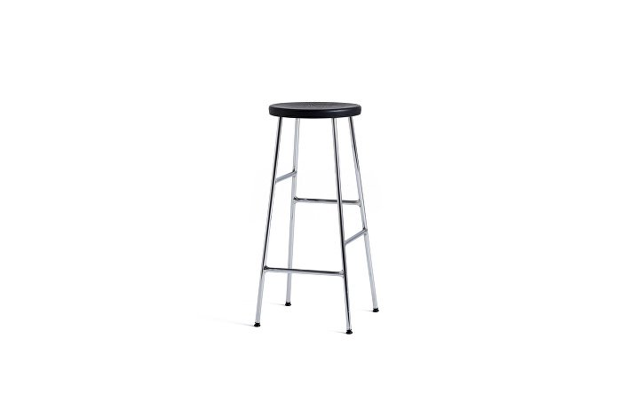 9303151509000_Cornet Bar Stool H75_Chromed Steel Base_Solid Black Oak Seat_wb