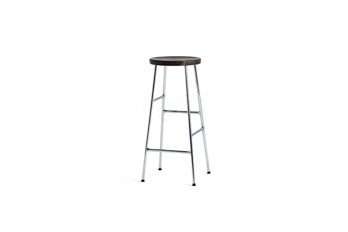 9303152009000_Cornet Bar Stool H75_Base chromed Steel_Seat solid smoked oak_wb