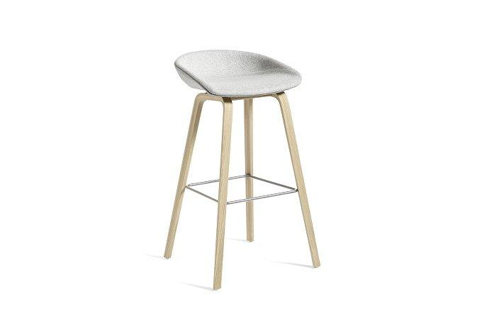 2338021422506_AAS33 H75_Matt lacquer oak base_Stainless steel footrest_Uph divina melange 120