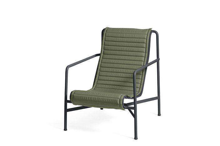 Palissade Lounge Chair High Anthracite_Quilted Cushion Olive