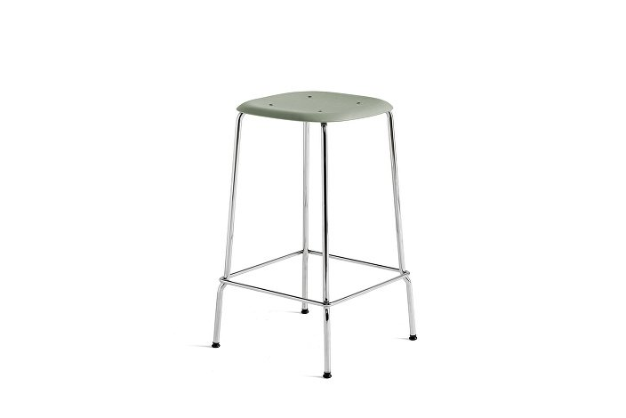1991011309000_Soft Edge 30 Bar Stool low_H65_Base chromed steel_Seat oak dusty green stained