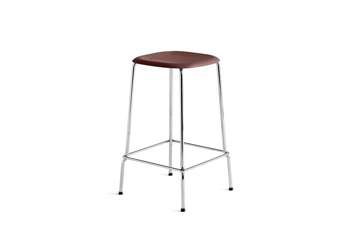 1991011409000_Soft Edge 30 Bar Stool low_H65_Base chromed steel_Seat oak fall red stained