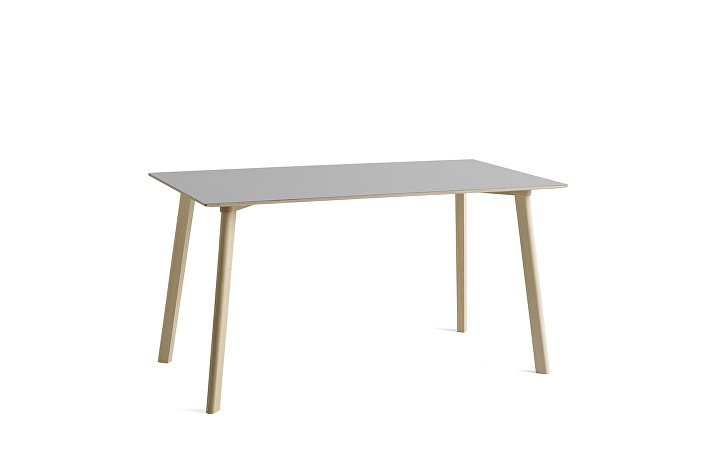 8090131109000_CPH Deux 210 Table_L140xW75xH73_Beech untreated raw plywood edge base_Dusty grey laminate