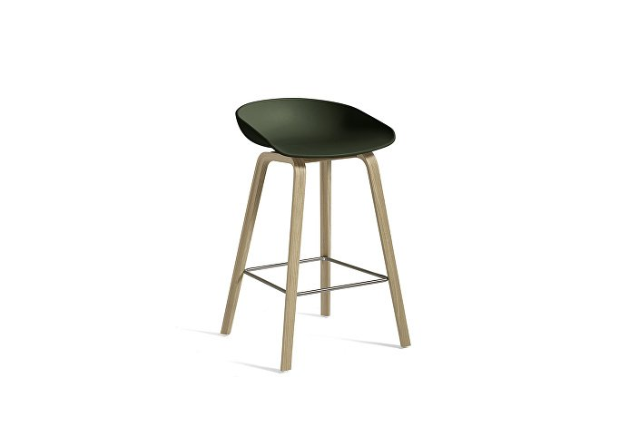 926207_AAS32 H65_Matt lacquer oak base_ Stainless steel footrest_Green