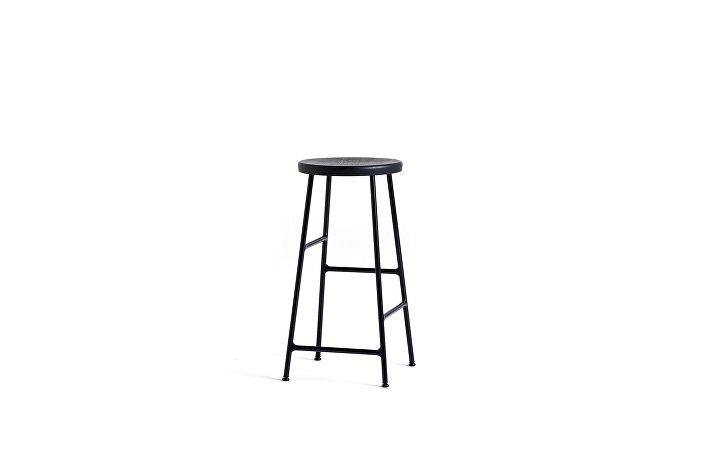 9303011009000_Cornet Bar Stool H65_Black Steel_Solid oak black seat_WB