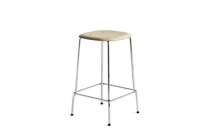 1991011109000_Soft Edge 30 Bar Stool low_H65_Base chromed steel_Seat oak matt lacquer