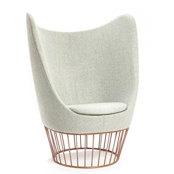 Dixi winged chair with cage base