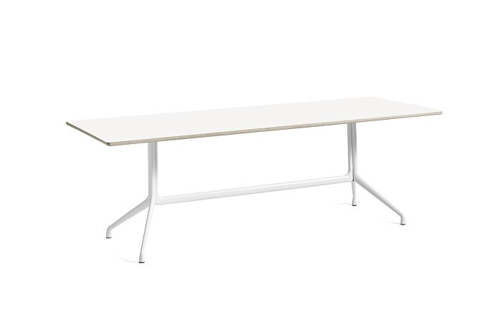 1933242009000_AAT10 Table_L220xW90xH73_White laminate tabletop_white frame