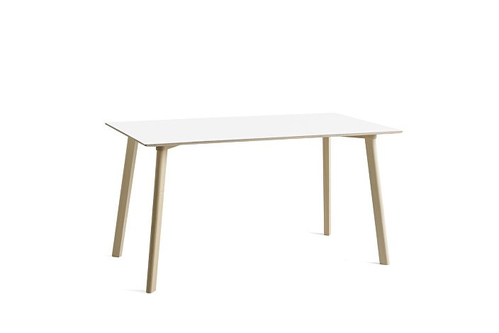 8090131309000_CPH Deux 210 Table_L140xW75xH73_Beech untreated raw plywood edge_Pearl white laminate