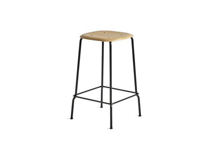 1990751509000_Soft Edge 30 Bar Stool low_H65_ Black Base_Seat oak clear lacquer