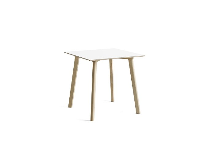 8090111309000_CPH Deux 210 Table_L75 x W75 x H73_Beech untreated raw plywood edge base_Pearl white laminate