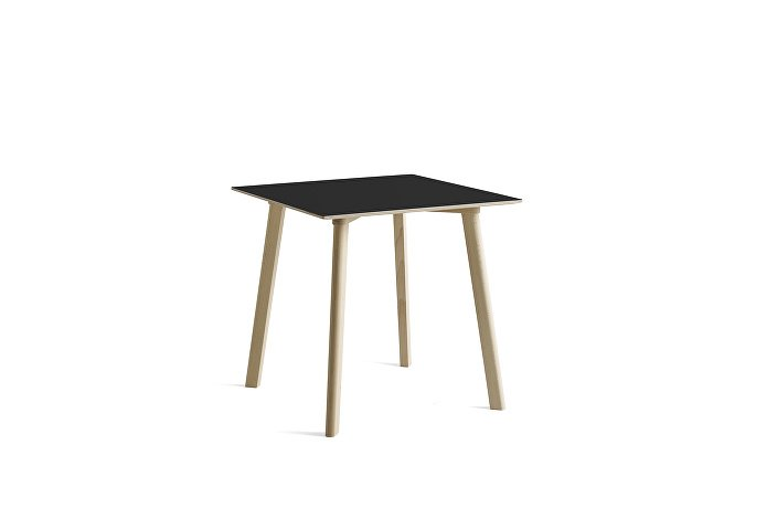 8090111409000_CPH Deux 210 Table_L75 x W75 x H73_Beech untreated raw plywood edge base_Ink black laminate