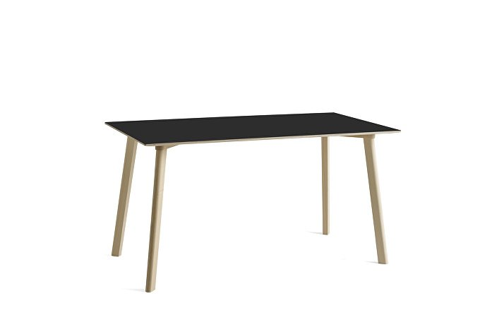 8090131409000_CPH Deux 210 Table_L140xW75xH73_Beech untreated raw plywood edge base_Ink black laminate