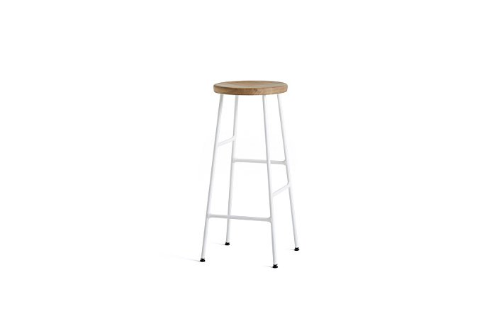 9303132009000_Cornet Bar Stool H75_Base white Steel_Seat solid oak_WB