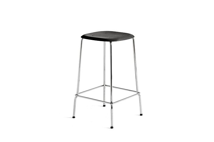 1991011159000_Soft Edge 30 Bar Stool low_H65_Base chromed steel_Seat oak black stained