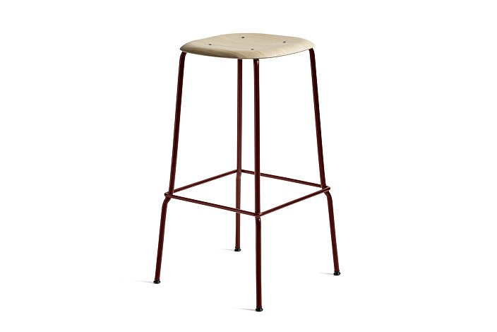 1991491109000_Soft Edge 30 Bar Stool high_H75_Base fall red_Seat matt laquered